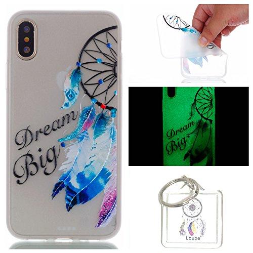 Preisvergleich Produktbild Hülle Leuchtende iPhone X Silikon Etui Handy Hülle Weiche Transparente Luminous TPU Back Case Tasche Schale Leuchten In Der Nacht Für Apple iPhone X + Schlüsselanhänger (P) (16)