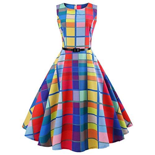 TEBAISE Sommer Frauen Konzert Formellen Anzug Vintage Druck Bodycon Sleeveless beiläufige Abendgesellschaft Prom Swing Kleid Geschichteten Rock(Mehrfarbig,EU-34/CN-S)
