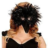 Masque d'oiseau Cagoule à plumes corbeau noir masque d'oiseau corneille mascarade avec bec animal soirée à thème accessoire de costume corneille