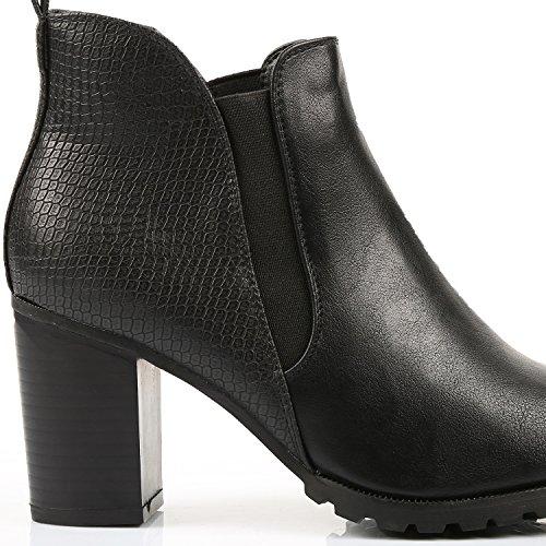 Go Mode - Bottines chelsea à talon bimatière - Femme Noir
