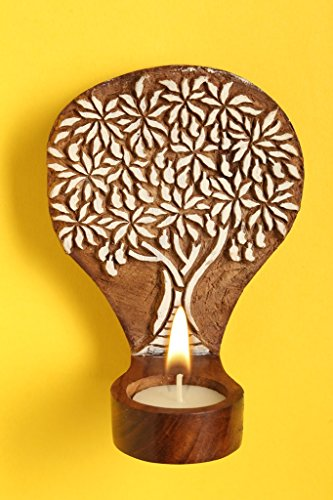 Craftbell Engraved Mango Tree Table Cum Wall Wooden Tealight Holder - T Lights, T Lights Holder, Votive Candle Holder, Hanging Lights, Decorative Lights, Candle Stand, Candle Holder, Decoration Items, Home Decoratives, Table Decor For Home Decor & Gif