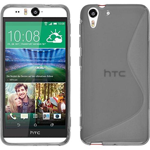 PhoneNatic Case für HTC Desire Eye Hülle Silikon grau, S-Style + 2 Schutzfolien