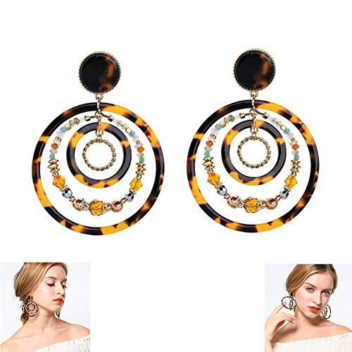 BFAWZ Personalisierte Multi-Layer-Kreis Perlen Ohrringe, Harz übertrieben Leopard-gedruckte Punkte CCB Reis Perlen personalisierte Hipster Ohrringe (1 Paar) -
