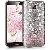 kwmobile Funda para G8 / GX8 Huawei - Case de cristal para móvil en TPU silicona - Cover trasero de cristal Diseño sol indio rosa claro blanco transparente