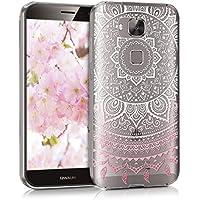 kwmobile Funda para Huawei G8/GX8 - Case para móvil en TPU silicona - Cover trasero Diseño Sol hindú en rosa claro blanco transparente