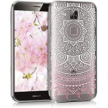 kwmobile Funda para Huawei G8 / GX8 - Case para móvil en TPU silicona - Cover trasero Diseño sol indio en rosa claro blanco transparente