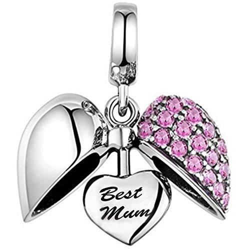 """""""I love you"""" Herz-Charm-Perle, 925erSterling-Silber, mitKristallen, für Armbänder von Pandora, Biagi und Troll"""