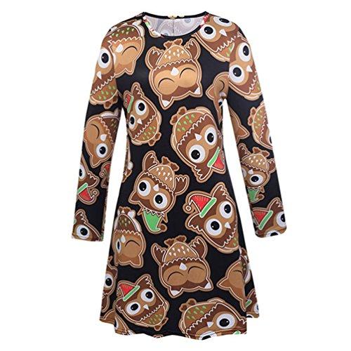 Lydreewam Damen Kleid Langarm Weihnachten gemustert Skater (Mädchen Leichte Superhelden Kostüme)