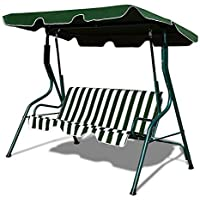 3 SEATER GARDEN PATIO SWING SEAT CHAIR HAMMOCK - GREEN & WHITE STRIPED