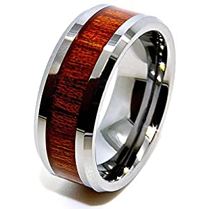 8mm Wood Grain Inlay Tungsten Wedding Band Size J 1/2