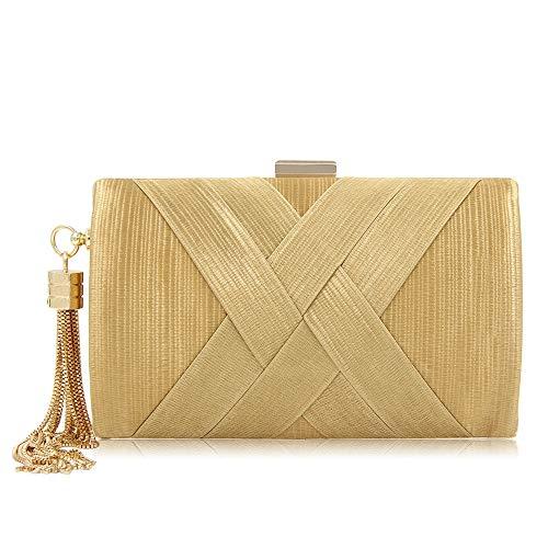 Lineary Abendparty-Clutch-Handtasche der Frauen Damen Quaste Anhänger Silk Abend Party Clutch Bridal Hochzeit Handtasche Mini Wallet Clutch (Farbe : Gold) -