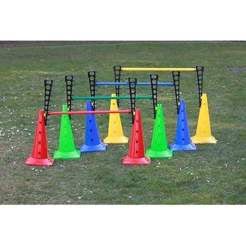 Set de 4x vallas de entrenamiento: 8x escaleras de entrenamiento, 8x conos multifuncionales: 50 cm, 4x picas: 80 cm, 4 colores