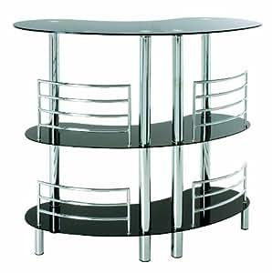 haku m bel 95222 comptoir de bar stahl hartglas schwarzchrom 58 x 120 x 107 cm. Black Bedroom Furniture Sets. Home Design Ideas