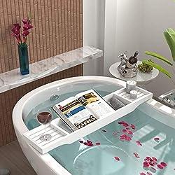 woodluv - Estante para bañera de bambú con Puente de bambú, Color Blanco