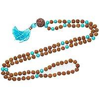 Mogul Interior Courage Mala Necklace Rudraksha Beads Seven Chakra Balancing Gemstone Malas, Yoga Gift