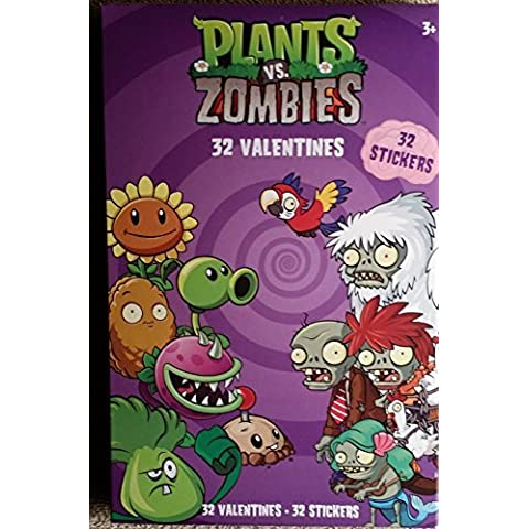 Plants vs Zombies 32 Valentines Card and 32 Stickers by Paper House Group