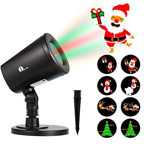 1byone Motifs Spot de Noël Projecteur LED Lumière Exterieur Eclairage pour Noël GIF Interchangeables Automatiquement, pour Usage Intérieur et en Plein Air, Etanche IP65