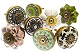 Möbelknopf Set x 8, Möbelknauf, Möbelknöpfe, Möbelgriff, Vintage Keramik Porzellan Set (MG-212-A)