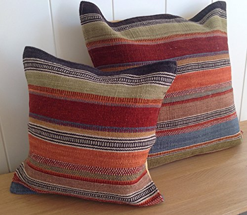 Fair Trade Ketti Kelim Kissenbezug, 45cm-Multi farbigen Streifen -