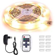 Minger Tira LED 5m 5050 SMD Blanco Calida Tiras de LED Kit Completo No Impermeable + Mando RF + Adaptador de Corriente