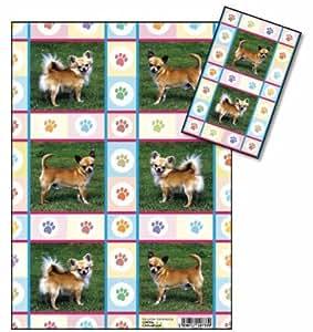 Chihuahua Chien papier cadeau papier cadeau et étiquette