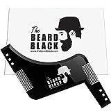 Outil de façonnage et de coiffage de la barbe avec peigne intégré pour une ligne et un bord parfaits, utilisation avec un coupe-barbe ou un rasoir pour le style de votre barbe et du visage, produit de qualité supérieure par The Beard Black