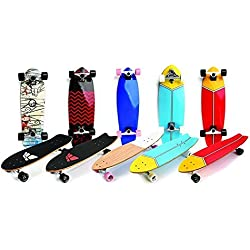 Meteor Retro Cruiser Board Longboard Skateboard Skate Skater Kompletter Sport City Style (Madera, 75 x 23 x 1,2 cm)