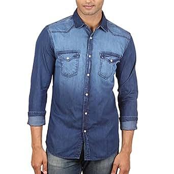 Fashion Freak Casual Blue Jeans Denim Shirts for Men