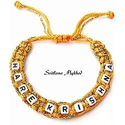 Bracelet HARE KRISHNA HARE RAMA personnalisé avec nom, prénom, message (réversible) Bijou fantaisie Bracelet avec texte sur commande pour homme, femme, enfant, bébé, nouveau-né.