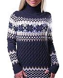 LvRao Frauen Langarm Rollkragen Strickpullover Tops Weihnachten Schneeflocke Strickpulli Sweater Pullover Mini Strickkleid (Marine, CN M)