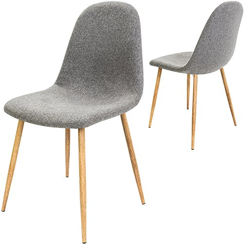 4x Design Stuhl mit Stoffbezug hellgrau - Esszimmerstühle Stühle Designerstuhl Esszimmerstuhl