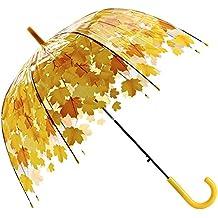 Automático Hoja Transparente Burbuja Cupula de Viaje Lluvia Paraguas, Automático Apertura Transparente Paraguas Largo Mango para Mujeres (Yellow)