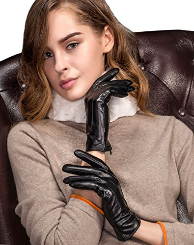 YISEVEN Damen Touchscreen Schaffell Lederhandschuhe