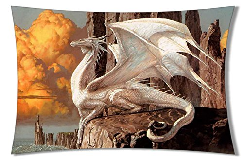 Personalized Home Bedding Pillowcase DIY western Dragon Cool Picture for children One Side Rectangle Pillowcases standard size 20 x 30 – 2, Cotone lino, color25, 20x30inch