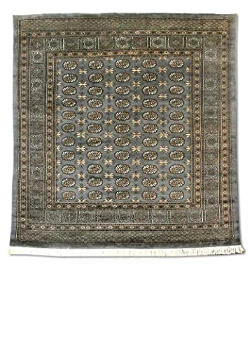 Traditional Persian Handmade Bokhara Square Rug, Wool, Grey, 253 X 260 cm, 8' 4