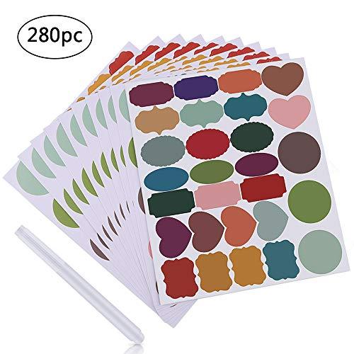 Muxitrade 280 x colored lavagna adesivi etichette con 1 x pennarello cancellabile etichette colorate partner per cucine vasetti per spezie adesivi riutilizzabili adesivi per lavagna adesivi lavagna
