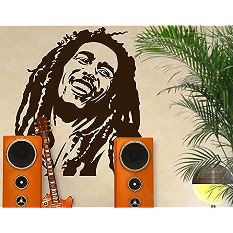 Adesivo da parete No. 1215Bob Marley Raggae Rastafari Giamaica chitarra Prominent, Crema 837, 49x45