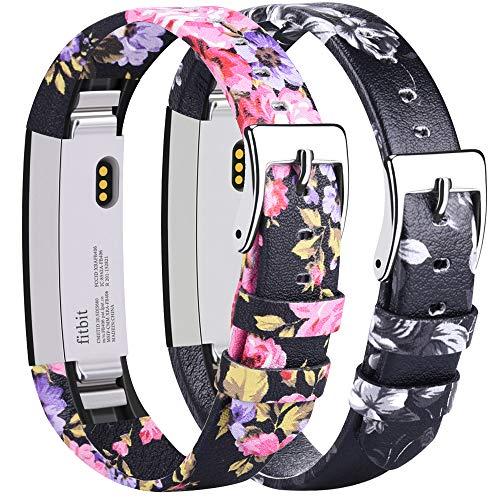 Tobfit Kompatibel mit Fitbit Alta HR Armband Fitbit Alta Armband (2 Pack) Lederarmband Edelstahl Schnalle Ersatzarmbänder für Fitbit Alta und Fitbit Alta HR (Kein Tracker) (01 Rosa Blume + Grau Blume)