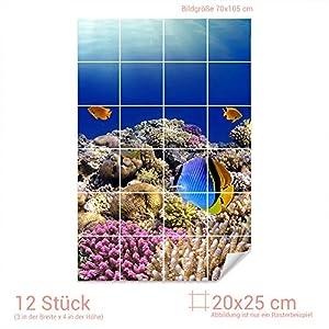 Graz Design 761555_20x25_70 Fliesenaufkleber Fische/Korallen für Kacheln   Bad-Fliesen mit Fliesenbildern überkleben (Fliesenmaß: 20x25cm (BxH)//Bild: 70x105cm (BxH))