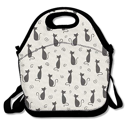 Jacklee Cute Cat Insulated Lunch Bag - Neoprene Lunch Bag - Large Reusable Lunch Tote Bags for Women, Teens, Girls, Kids, Baby, Adults Portable Carry -