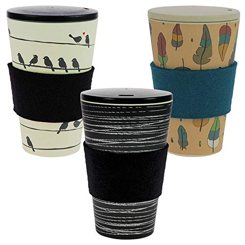 ebos 3er-Set Bambus Coffee-to-Go-Becher   Schraubdeckel, Wollfilz-Griffring, Kaffee-Becher, wiederverwendbar, umweltfreundlich, spülmaschinengeeignet (O.L.E, Loving Birds, Zauberfeder)