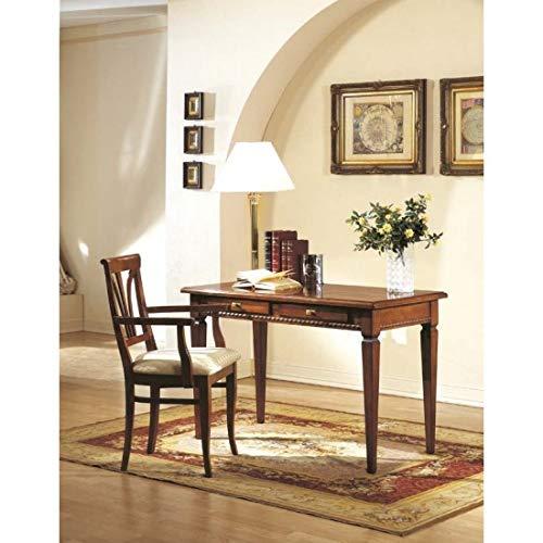 estea Meubles Table Bureau secrétaire en Bois Massif avec marqueterie 120 x 60 x H77 – H260