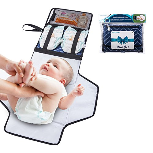 Portable Changing Mat with Storage by Willcare – Travel Diaper Changing pad for Baby Show Gift with Cushion – Foldable Waterproof Diaper Changing Station Kit with Zipper in Lightweight Test