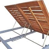 Festnight Doppel-Sonnenliege Gartenliege Massives Akazienholz | Doppelliege Relaxliege mit 2 Rollen Verstellbare Rückenlehne | für Garten, Terrasse und Balkon 207 x 130 x 88 cm - 5