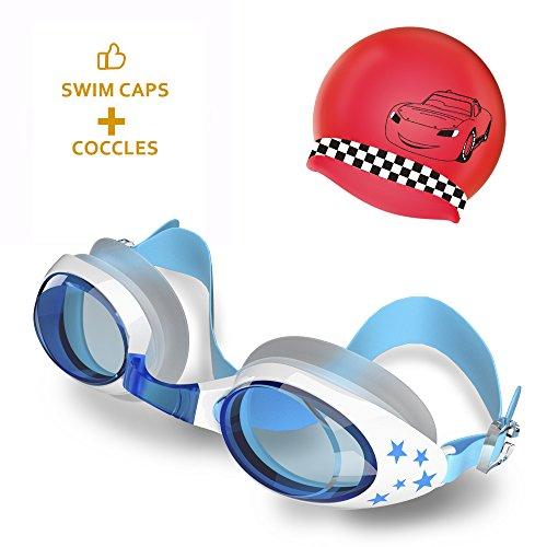 UPWADE Schwimmbrille Sport Schwimmbrille UV Schutz Antibeschlag inklusive Badekappe, Ohrstöpsel, Nasenklammerprofi Schwimmbrille Erwachsene für Kinder