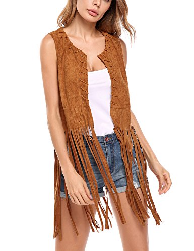MAXMODA Damen West Fransen ärmellos dünn Fransenweste Bolero Blazer Strickjacke Bluse Kurzarm Bluse top Outdoor Cardigan Leder Hippie Gilet - Hippie Tunika Bluse