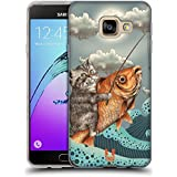 Head Case Designs Chat Et Poisson Fantaisies Animales Étui Coque en Gel molle pour Samsung Galaxy A3 (2016)