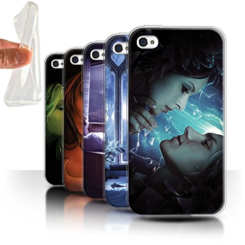 Officiel Elena Dudina Coque / Etui Gel TPU pour Apple iPhone 4/4S / Coeur flamboyant Design / Art Amour Collection Pack 7pcs