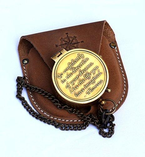 Neovivid Messing-Kompass, graviert, mit Thoreau's Go Confidently Zitat und geprägtem Lederetui,...
