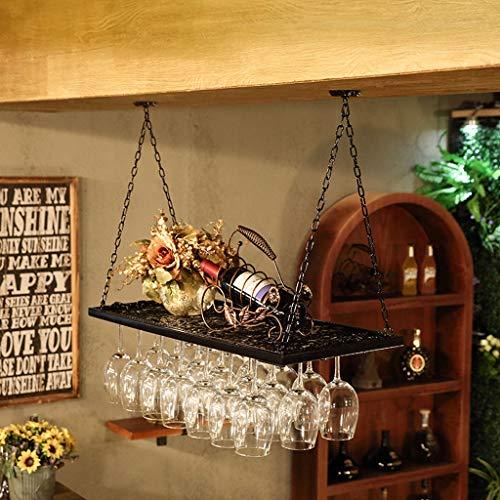 WYDM Schmiedeeisen Becherhalter Weinregal auf den Kopf Weinregal hängende Wein Glasregal hohe Glasrahmen Wand hängen Stange (größe : 80cm) Green Lazy Susan